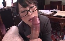 Japanese girl in glasses sucks hard cock