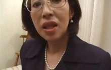 Japanese MILF with glasses fucked