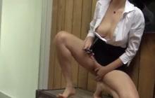 Asian girl gets naughty on the job