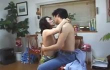 Young guy fucks Asian slut on kitchen table