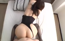 Japanese beauty in stockings desires a hard cock