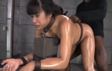 Asian beauty bound, oiled up and slammed